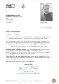 Dankesbrief von Amnesty International - Soziale Verantwortung